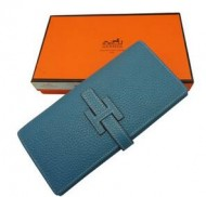 美品 エルメス 機能性を重視される 長財布 お札入れ ウォレット ブルー