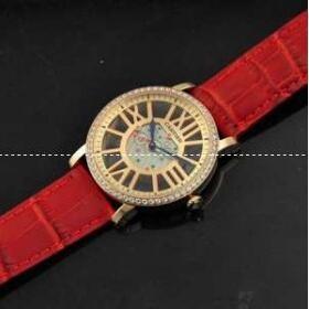 最大80%offの赤レザーのドライブドゥ カルティエ 時計 人気 Cartier 自動巻き レディース Watch .