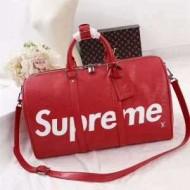 爆買い送料無料2017新作SUPREMEシュプリーム ×Louis Vuitton Keepall Bag ボストンバッグ 赤色レザー バッグ