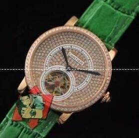【激安】高級品通販Cartierカルティエ時計スーパーコピー ダイヤモンド付き レディースウォッチ クオーツ時計 グリーンレザーベルト ゴルード