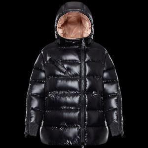 しっかり暖かな感じ2017秋冬MONCLERモンクレール偽物 ダウンジャケットレディース ダウンコート ブラック フード付き