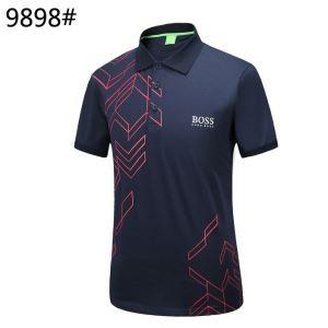 スポーツTシャツ 2018夏季新作 ヒューゴボス ポロTシャツ 吸汗性が強い 半袖 ブランド ブラック ネイビー ホワイト メンズ