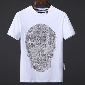 個性派フィリッププレインTシャツストリートクルーネック半袖メンズTシャツ