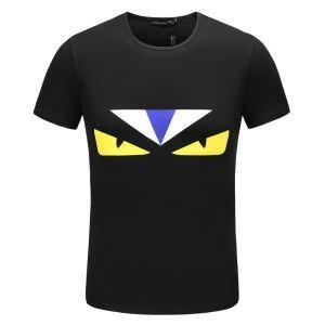 今年流行り!フェンディBAG BUGS Tシャツ 夏 偽物 シンプル 爽やか FENDI ブラック 半袖 メンズ 服