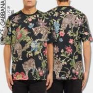 【HOT新品】ドルガバ コピー Tシャツ 夏Dolce&Gabbana 個性 綺麗 プリント 柄 Floral Leopard Print T-shirt メンズ