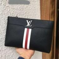 新色素敵Louis Vuittonルイヴィトンバッグコピー本革ブラックビジネス用メンズクラッチバッグ
