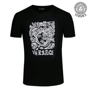 最安値セールヴェルサーチスーパーコピー芸能人着用プリントメンズクルーネック半袖Tシャツ